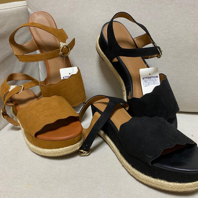 GU(ジーユー)の【新品未使用】GU ジュートスカラップサンダル 二足セット レディースの靴/シューズ(サンダル)の商品写真