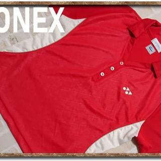 ヨネックス(YONEX)のヨネックス 刺繍入り切替半袖ポロシャツ 赤(ポロシャツ)