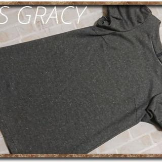 エムズグレイシー(M'S GRACY)のエムズグレイシー ラメ入りカットチュニック 濃グレー(チュニック)