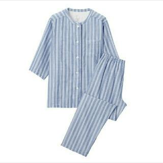 MUJI (無印良品) - 脇に縫い目のない 細番手二重ガーゼ 七分袖パジャマ