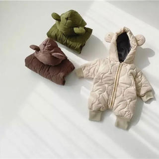 クマ フード ロンパース アウター ジャンプスーツ