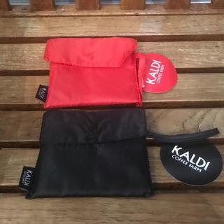 カルディ(KALDI)のKALDI カルディオリジナル  エコバッグ ブラック レッド 2点(エコバッグ)