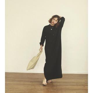 Ray BEAMS - pocher ロング マキシワンピース スタンドカラー ブラック
