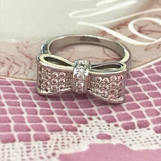 ★新品★ シルバー 925 リボンリング 指輪  ホワイトサファイア