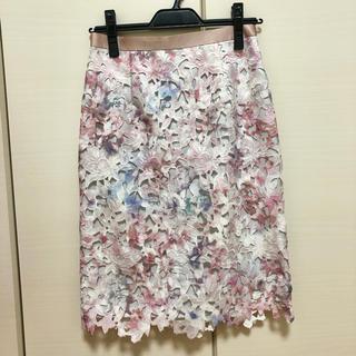 JUSGLITTY - 美品 JUSGLITTY レースプリントタイトスカート
