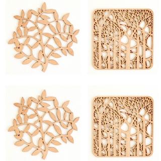 イデー(IDEE)のIDEE 木製コースター branch , forest ,   各2ずつ4枚組(テーブル用品)