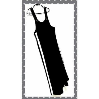 GU - GU GIRLS カットソーサロペット サイドライン ワイドパンツ 黒