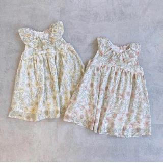 petit main - 花柄フリル衿ワンピース 新品未使用 90 プティマイン