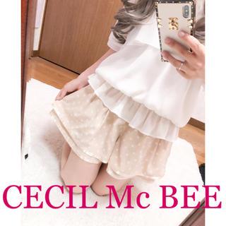 CECIL McBEE - 2283.CECIL Mc BEE シフォン ティアード ドット柄 ショーパン