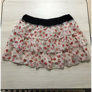 花柄 ドット 白 スカート