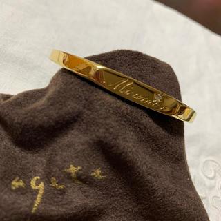 アガット(agete)のagate ゴールドバングル ダイヤ入り(ブレスレット/バングル)