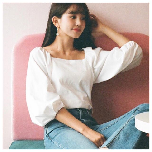 dholic(ディーホリック)の洗濯済試着のみ☆DHOLICスリーブギャザーTシャツ白☆韓国ディーホリック レディースのトップス(Tシャツ(半袖/袖なし))の商品写真