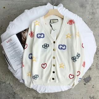 グッチ(Gucci)の刺繍入りピーチハートカーディガンセーター  (ニット/セーター)
