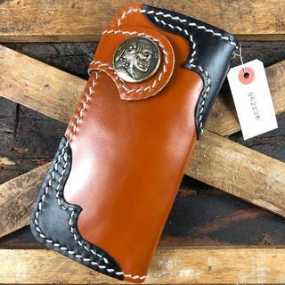 本革 牛革 ハンドメイド レザークラフト 財布 一点物 手縫い ブラウン 星(折り財布)