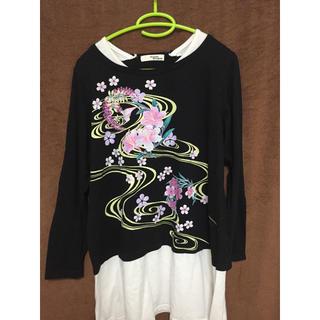 しまむら - 和柄 桜のロングTシャツ 3L