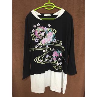 しまむら - 和柄 桜のロングTシャツ 4L