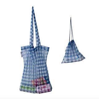dholic - ブルー ギンガムチェックトート エコバッグ  巾着セット