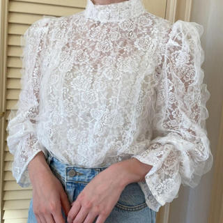 flower - rose lace blouse(white)
