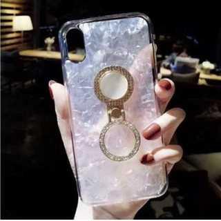 iPhoneXRケース リング ラインストーン ホワイト