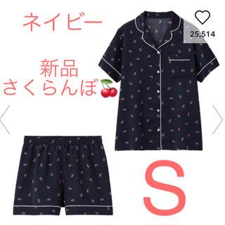 GU - 新品★GU サテンパジャマ 半袖&ショートパンツ チェリー ネイビー S