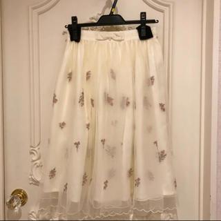 ロディスポット(LODISPOTTO)の新品タグ付き❤︎ロディスポットのフラワー刺繍チュールスカート❤︎アイボリー(ひざ丈スカート)