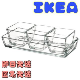 IKEA - IKEA イケア MIXTUR ミクスチュール 耐熱皿4点セット, クリアガラス