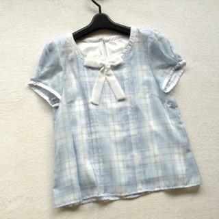 ロディスポット(LODISPOTTO)のロディスポット リボンチェックブラウス ブルー系(シャツ/ブラウス(半袖/袖なし))