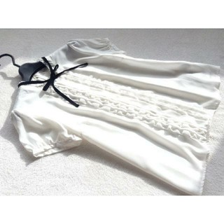 ロディスポット(LODISPOTTO)のロディスポット フリルブラウス ホワイト(シャツ/ブラウス(半袖/袖なし))