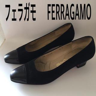 フェラガモ(Ferragamo)のフェラガモ FERRAGAMO スウェード 黒 パンプス(ハイヒール/パンプス)