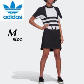 アディダス(adidas)の【定価5489円】adidas ビッグトレフォイル ロング丈 Tシャツ 黒 M(ミニワンピース)