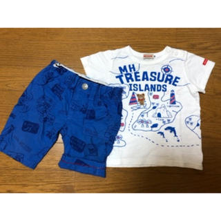 mikihouse - ミキハウス ダブルビー トレジャーTシャツ、アメコミ風 ハーフパンツ(90)