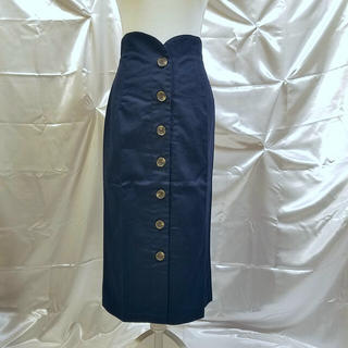 ZARA - richeglamour ハイウエストフロントボタンチノタイトスカート