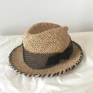 トゥモローランド(TOMORROWLAND)のLola hat ラフィア×blackリボン帽子(麦わら帽子/ストローハット)