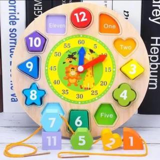 【在庫処分】知育玩具 木製 デジタルジオメトリ時計木のおもちゃ