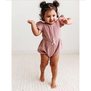 キャラメルベビー&チャイルド(Caramel baby&child )のCity Mouse モスリン ロンパース ミントグリーン 18-24m(ロンパース)