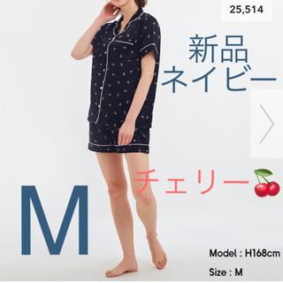 GU - 新品★GU  サテンパジャマ  半袖&ショートパンツ  チェリー  ネイビー M