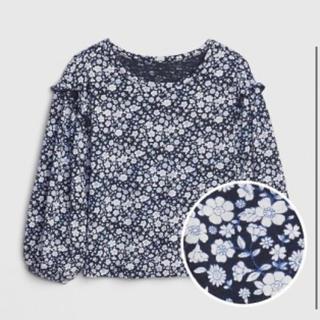 ベビーギャップ(babyGAP)のプリント ラッフルスリーブTシャツ ネイビーフローラル(Tシャツ/カットソー)