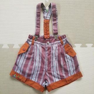 海外子供服 チェック柄 サスペンダーショートパンツ