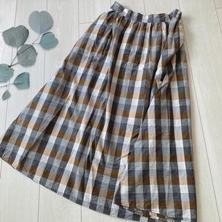 GU - GU ナチュラルなブロックチェック ロングスカート