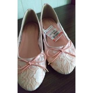 しまむら - 未使用*しまむら*レース バレーシューズ ペタンコ靴 ピンク