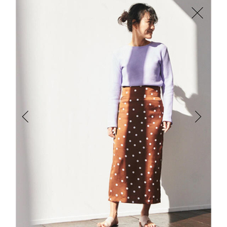 TOMORROWLAND - 【別注】金子綾xMACPHEE ポリエステルドットプリント ミディタイトスカート