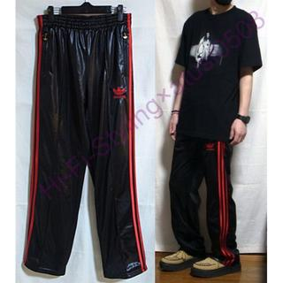 アディダス(adidas)のadidas 90's ヴィンテージ 光沢 トラックパンツ ジャージ 黒 赤(スラックス)