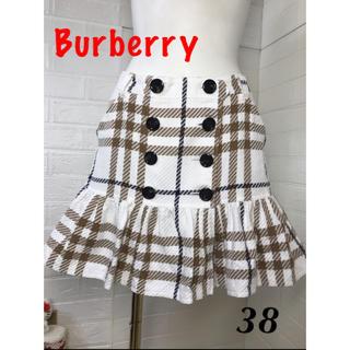 バーバリーブルーレーベル(BURBERRY BLUE LABEL)のバーバリーブルーレーベル サイズ38  ロゴ入りベルト付き(ミニスカート)