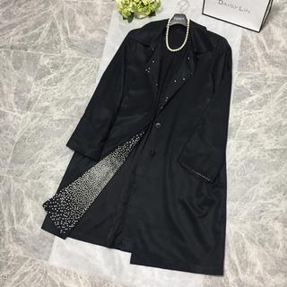 LEONARD - 美品 レオナール  LEONARD 最高級シルク コート ブラック