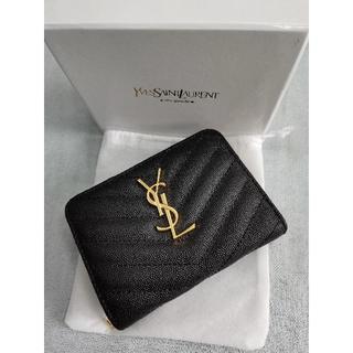 イヴサンローランボーテ(Yves Saint Laurent Beaute)のYSL サンローラン折り財布 小銭入れ ブラック レディース(財布)