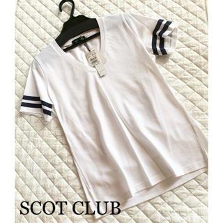 SCOT CLUB - SCOT CLUB Vネック スポーティ 半袖 メッシュ 日本製