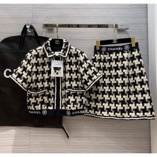 CHANEL - オススメです!Chanelシャネル ニットカーディガン+スカート 二点セット美品