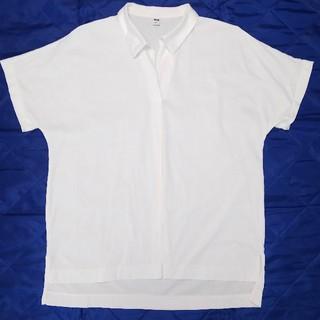 ユニクロ(UNIQLO)のUNIQLO ユニクロ オーバーサイズスキッパーポロシャツ 半袖 ホワイト S(ポロシャツ)