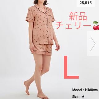 GU - 新品★GU  サテンパジャマ  半袖&ショートパンツ  チェリー  ピンク  L