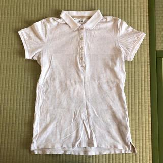 ユニクロ(UNIQLO)のUNIQLO レディース用ポロシャツ Lサイズ ボーダー 白×薄茶色(ポロシャツ)